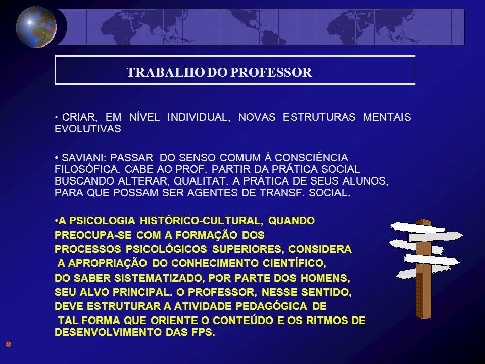 TRABALHO DO PROFESSOR CRIAR, EM NÍVEL INDIVIDUAL, NOVAS ESTRUTURAS MENTAIS EVOLUTIVAS.