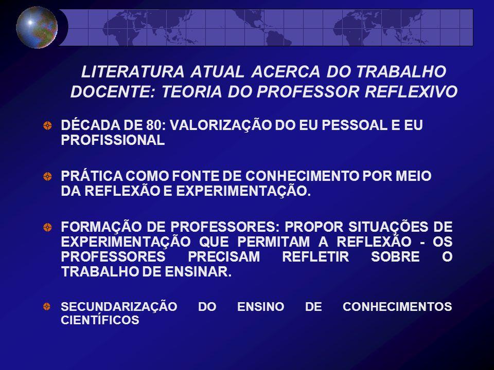 LITERATURA ATUAL ACERCA DO TRABALHO DOCENTE: TEORIA DO PROFESSOR REFLEXIVO