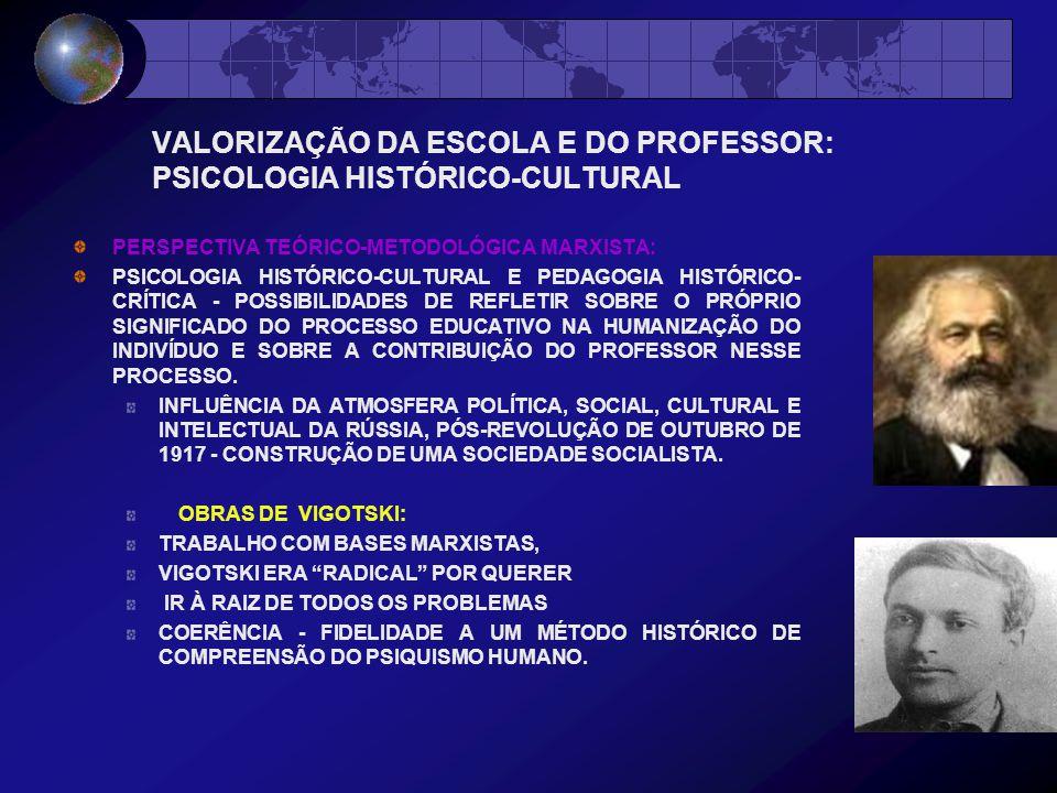 VALORIZAÇÃO DA ESCOLA E DO PROFESSOR: PSICOLOGIA HISTÓRICO-CULTURAL