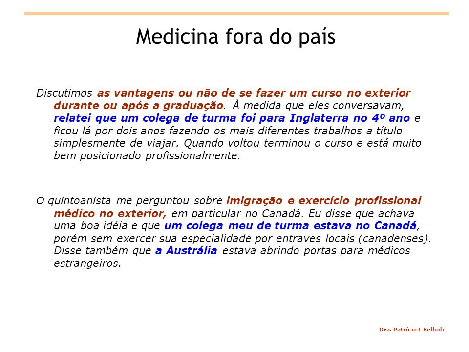 Medicina fora do país
