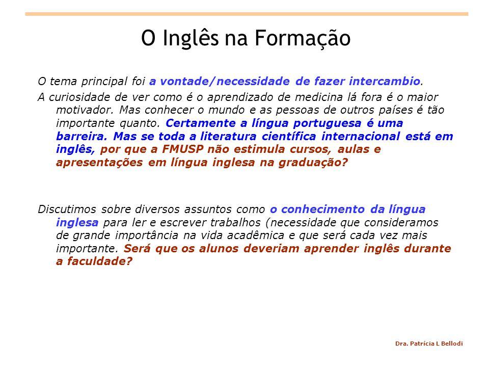 O Inglês na Formação O tema principal foi a vontade/necessidade de fazer intercambio.
