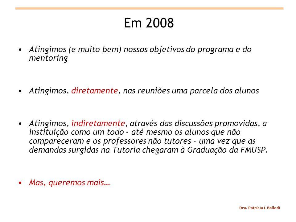 Em 2008 Atingimos (e muito bem) nossos objetivos do programa e do mentoring. Atingimos, diretamente, nas reuniões uma parcela dos alunos.