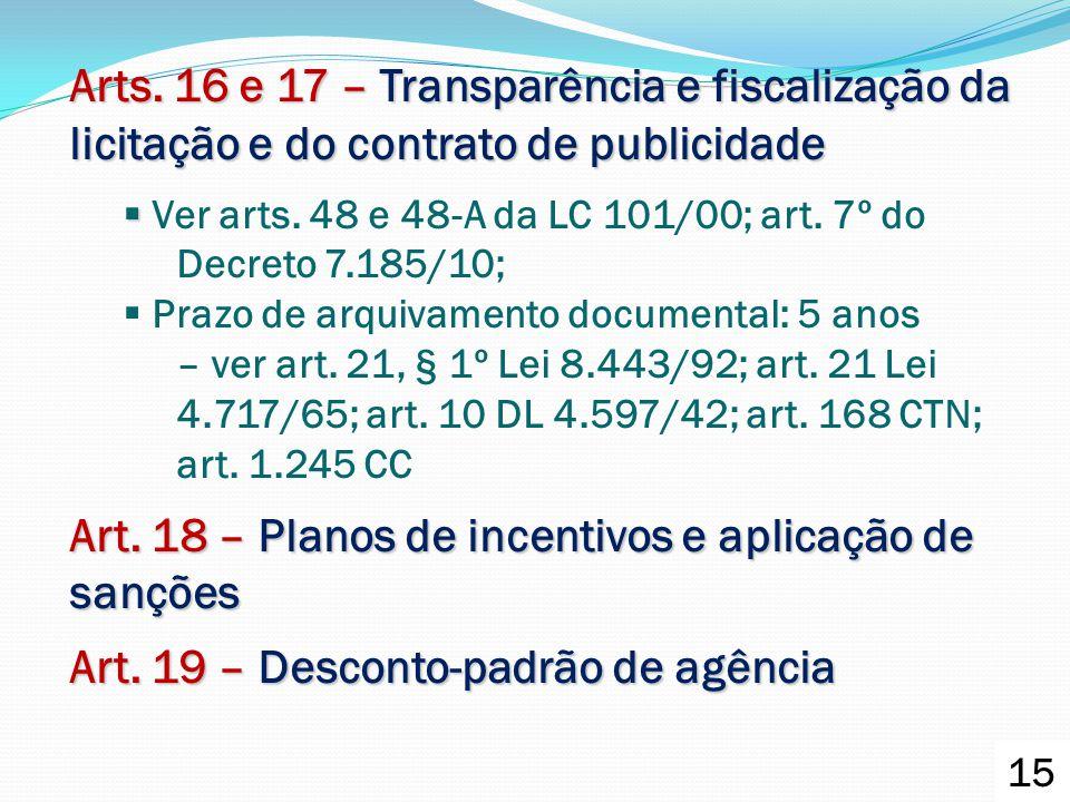 Art. 18 – Planos de incentivos e aplicação de sanções