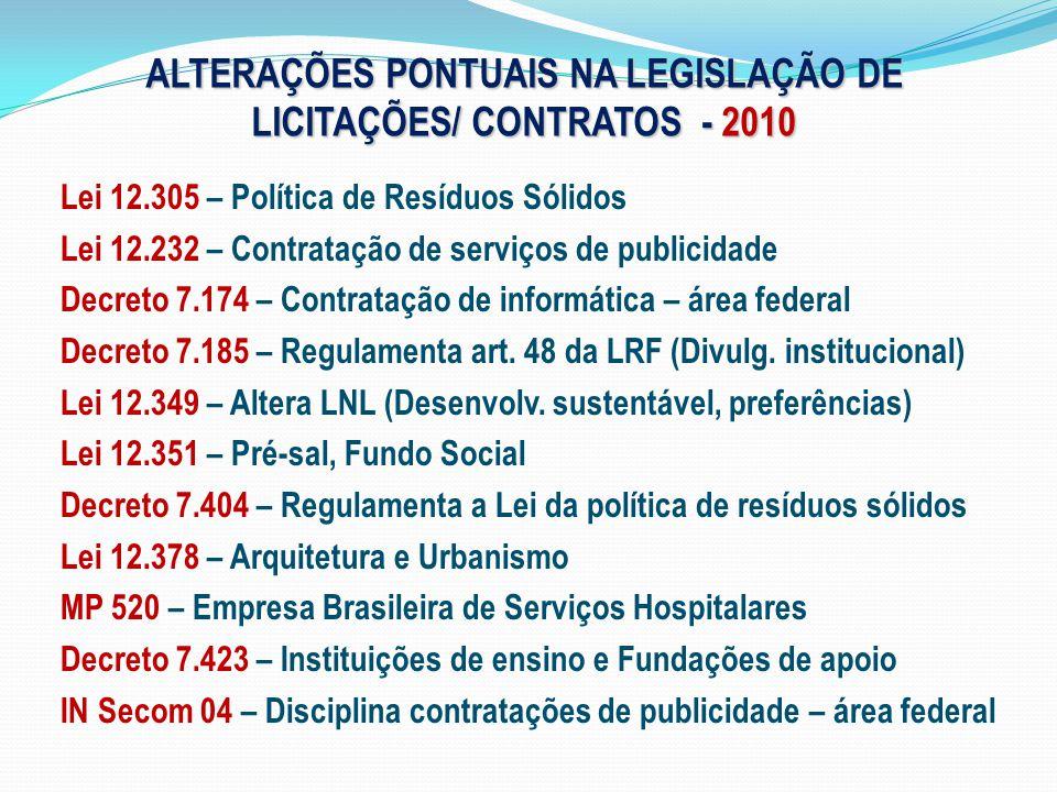 ALTERAÇÕES PONTUAIS NA LEGISLAÇÃO DE LICITAÇÕES/ CONTRATOS - 2010