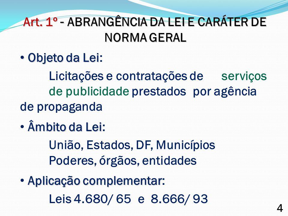 Art. 1º - ABRANGÊNCIA DA LEI E CARÁTER DE NORMA GERAL
