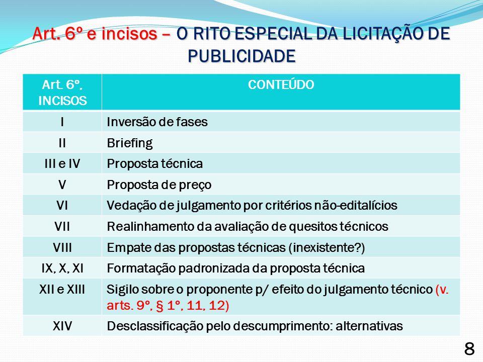 Art. 6º e incisos – O RITO ESPECIAL DA LICITAÇÃO DE PUBLICIDADE