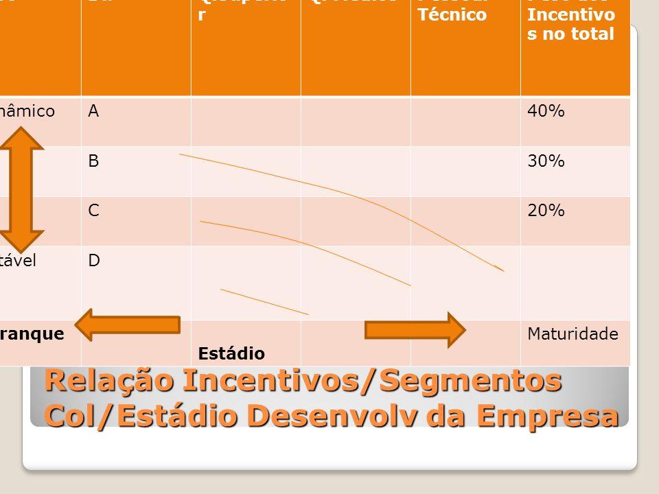 Relação Incentivos/Segmentos Col/Estádio Desenvolv da Empresa