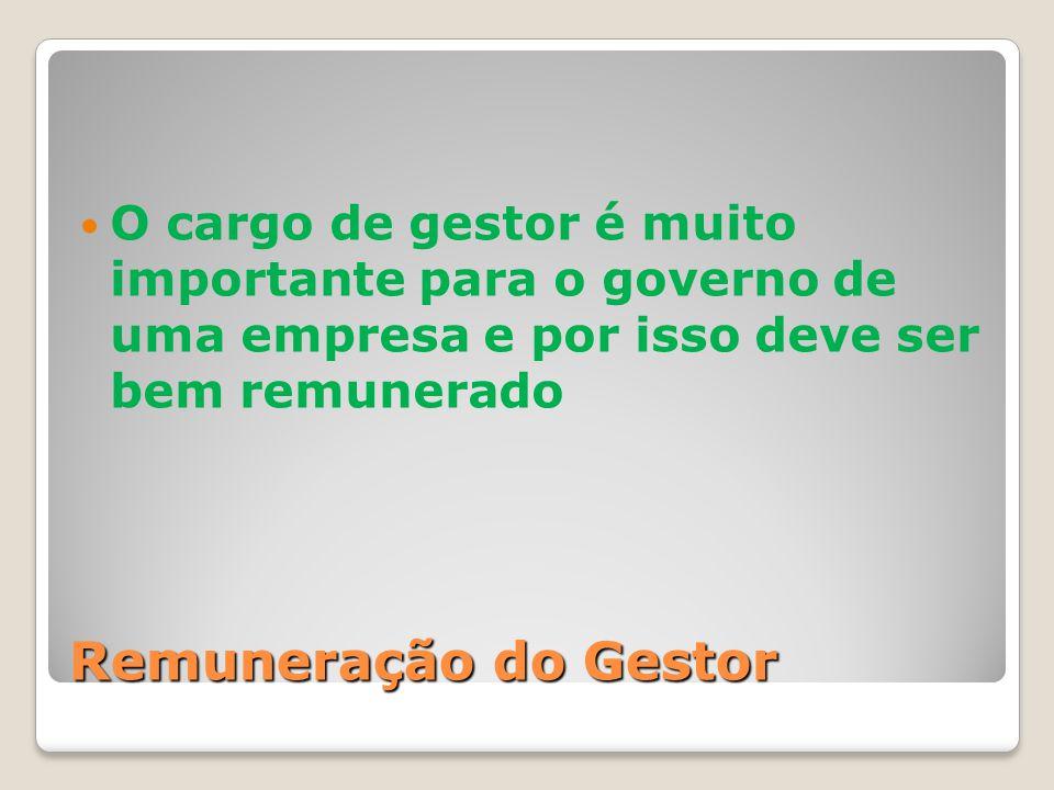 O cargo de gestor é muito importante para o governo de uma empresa e por isso deve ser bem remunerado
