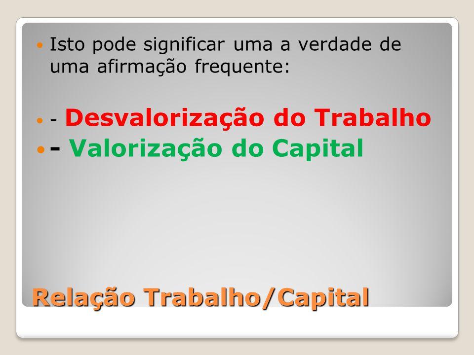 Relação Trabalho/Capital