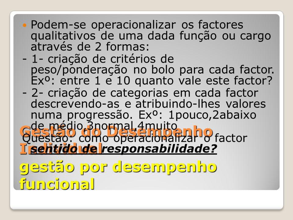 Gestão do Desempenho Individual gestão por desempenho funcional