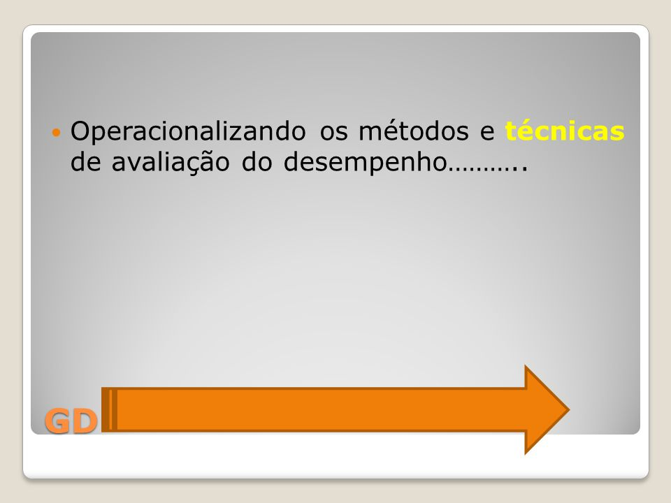 Operacionalizando os métodos e técnicas de avaliação do desempenho………..