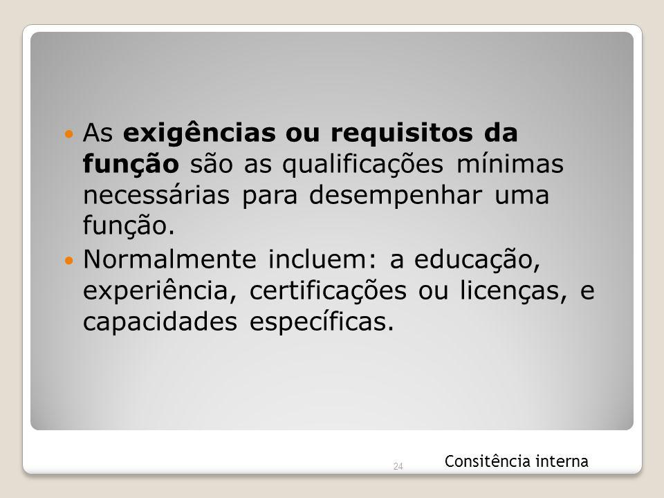 As exigências ou requisitos da função são as qualificações mínimas necessárias para desempenhar uma função.