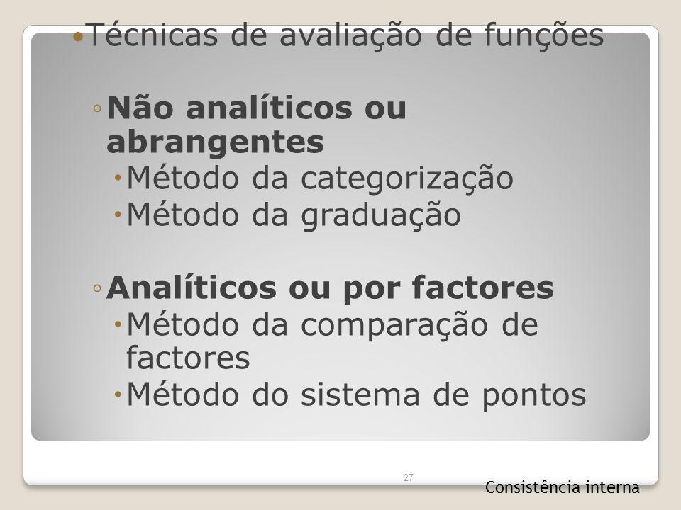 Técnicas de avaliação de funções Não analíticos ou abrangentes