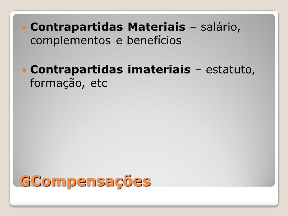Contrapartidas Materiais – salário, complementos e benefícios