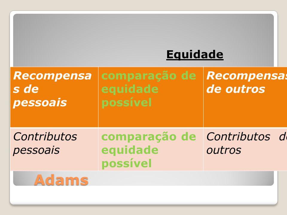 Adams Equidade Recompensas de pessoais comparação de equidade possível