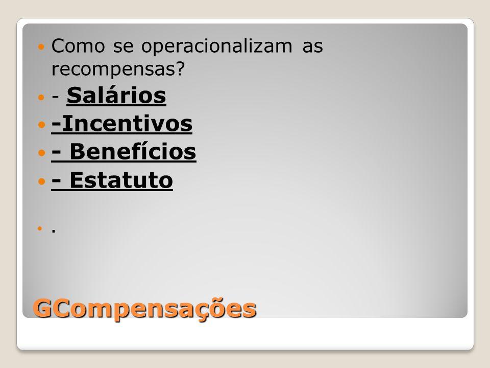 GCompensações -Incentivos - Benefícios - Estatuto