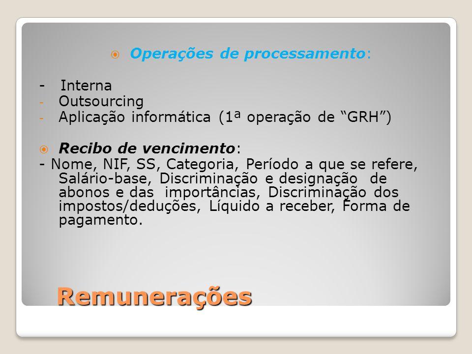 Operações de processamento: