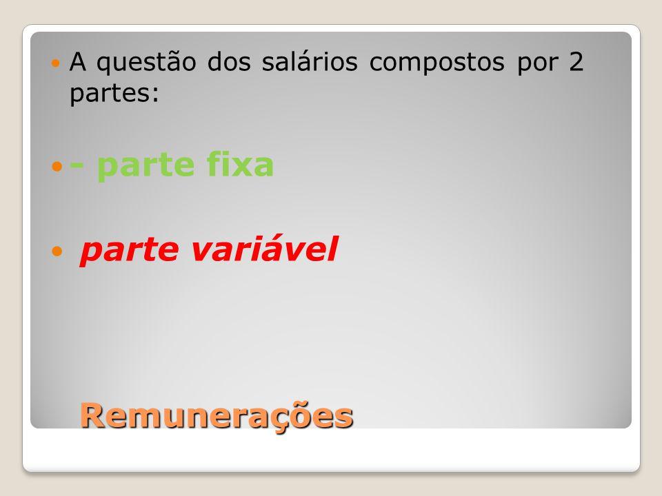 - parte fixa parte variável Remunerações