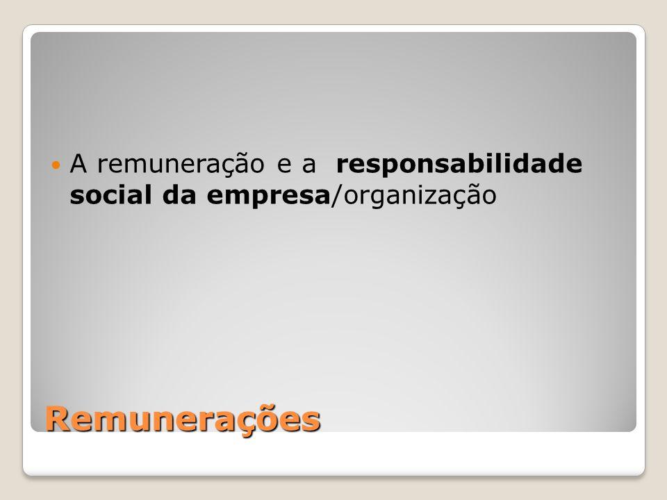 A remuneração e a responsabilidade social da empresa/organização
