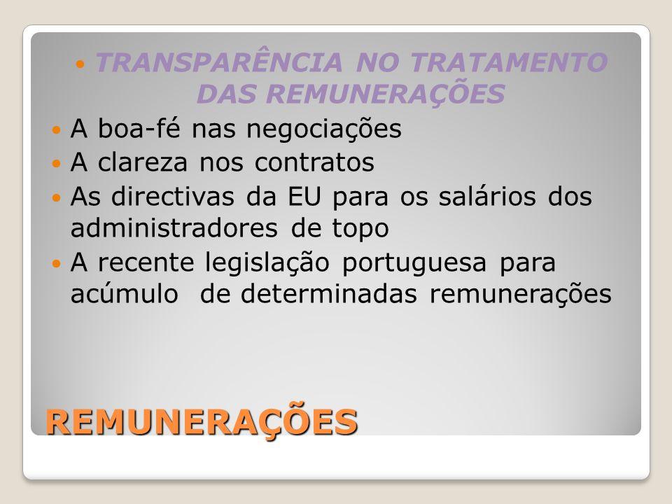 TRANSPARÊNCIA NO TRATAMENTO DAS REMUNERAÇÕES