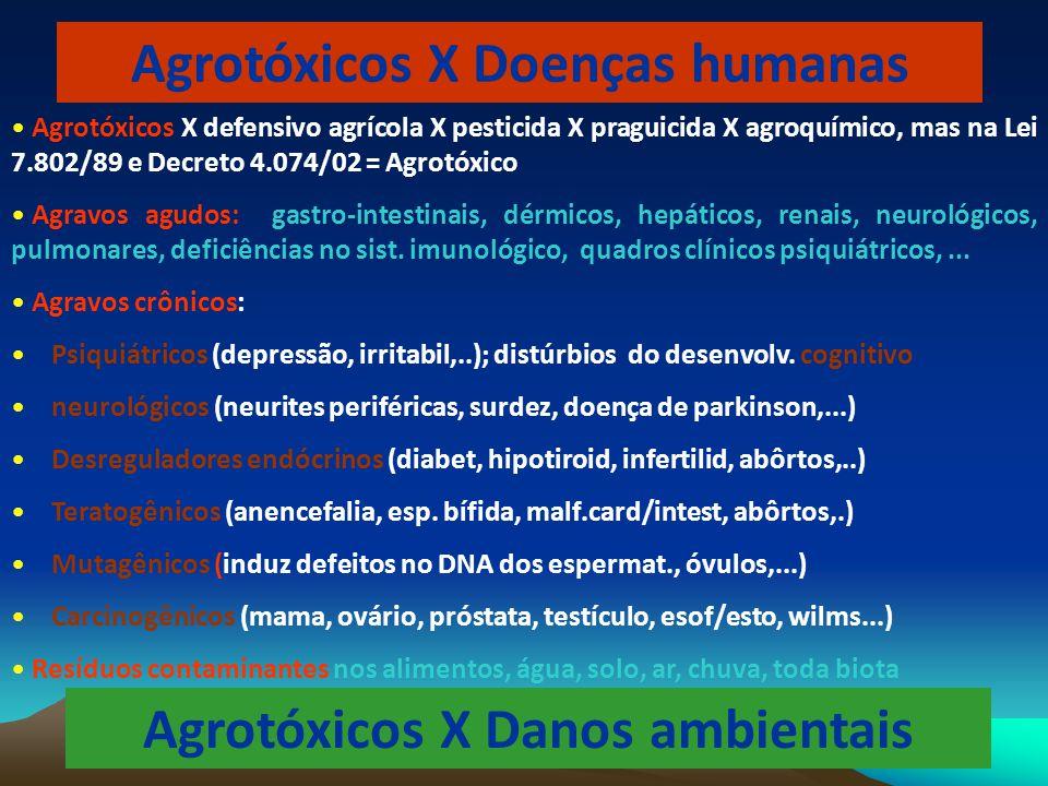 Agrotóxicos X Doenças humanas Agrotóxicos X Danos ambientais