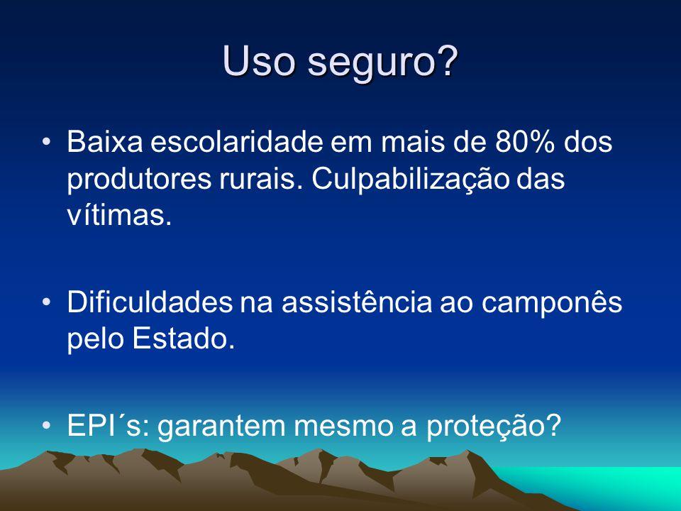 Uso seguro Baixa escolaridade em mais de 80% dos produtores rurais. Culpabilização das vítimas.