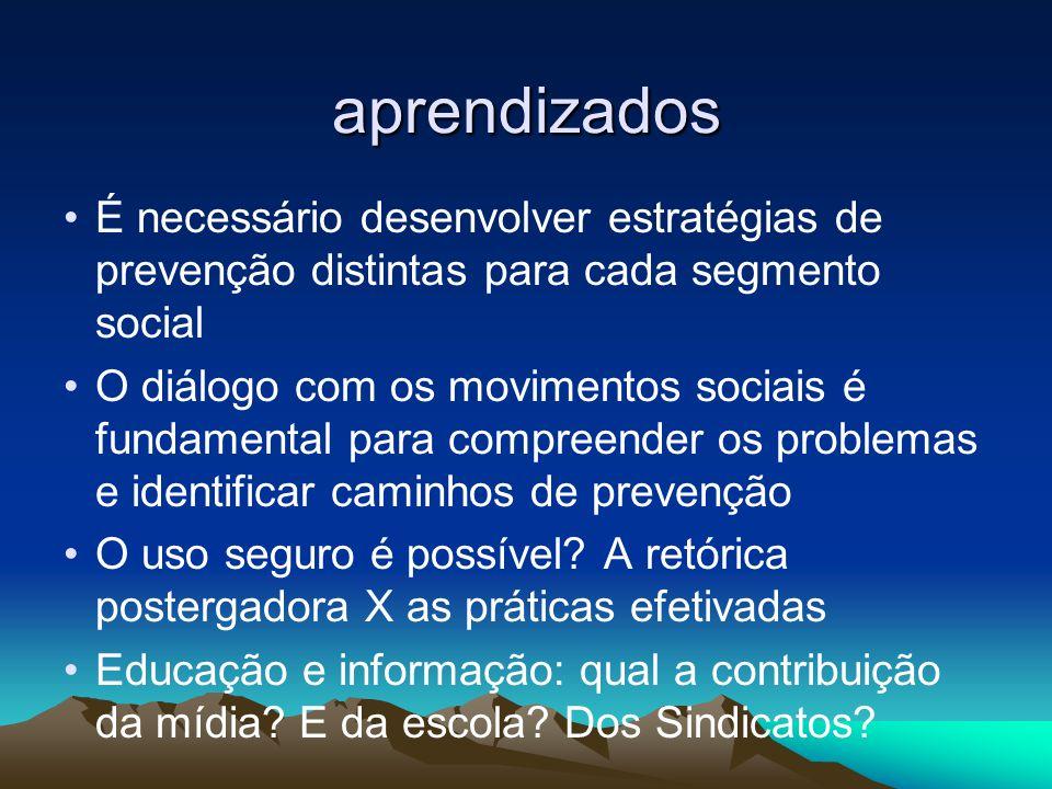 aprendizados É necessário desenvolver estratégias de prevenção distintas para cada segmento social.