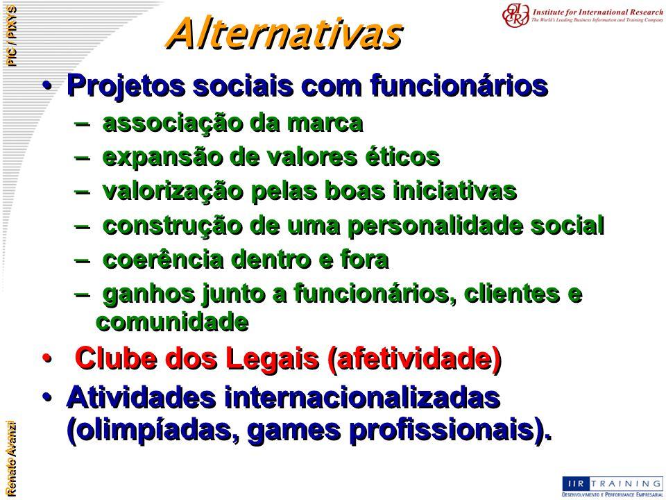 Alternativas Projetos sociais com funcionários