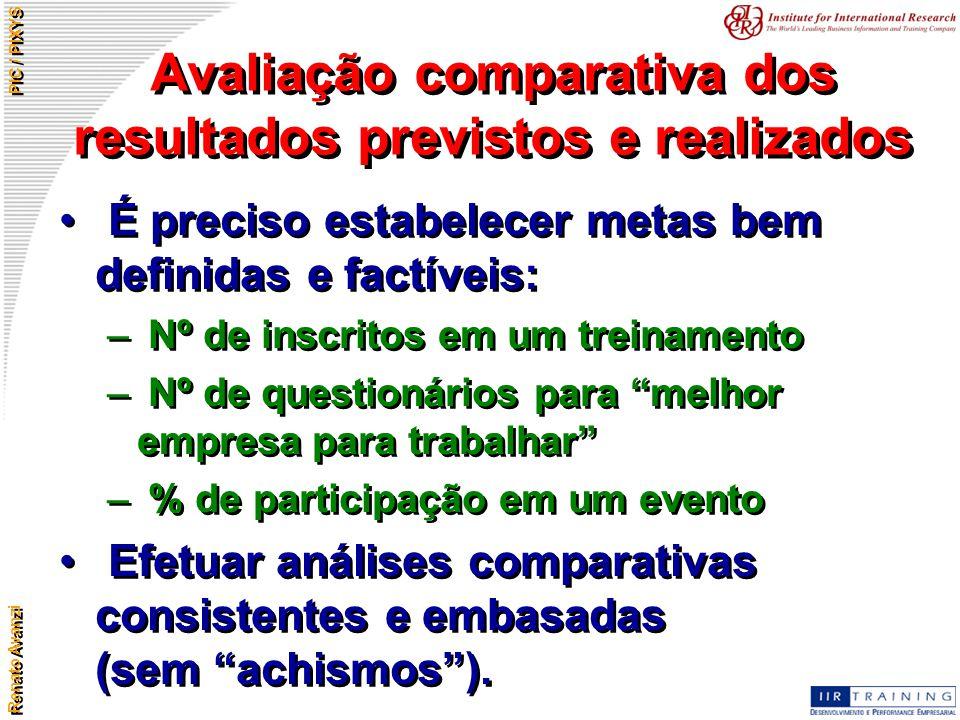 Avaliação comparativa dos resultados previstos e realizados
