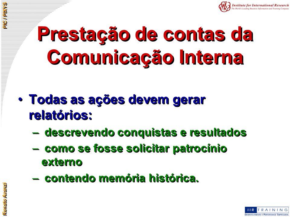 Prestação de contas da Comunicação Interna