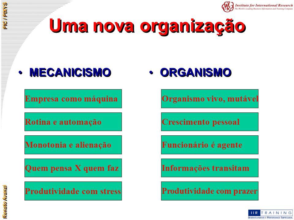 Uma nova organização MECANICISMO ORGANISMO Empresa como máquina