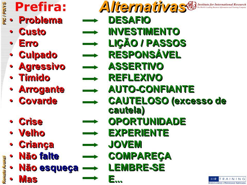 Alternativas Prefira: Problema DESAFIO Custo INVESTIMENTO