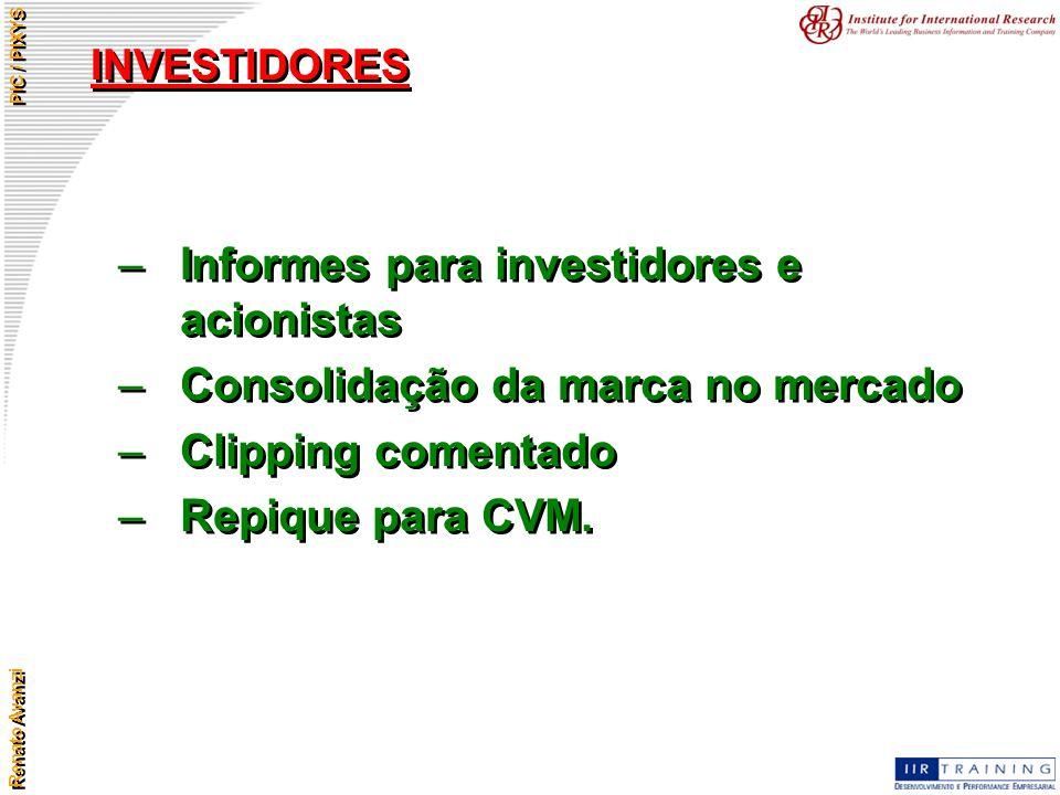 Informes para investidores e acionistas