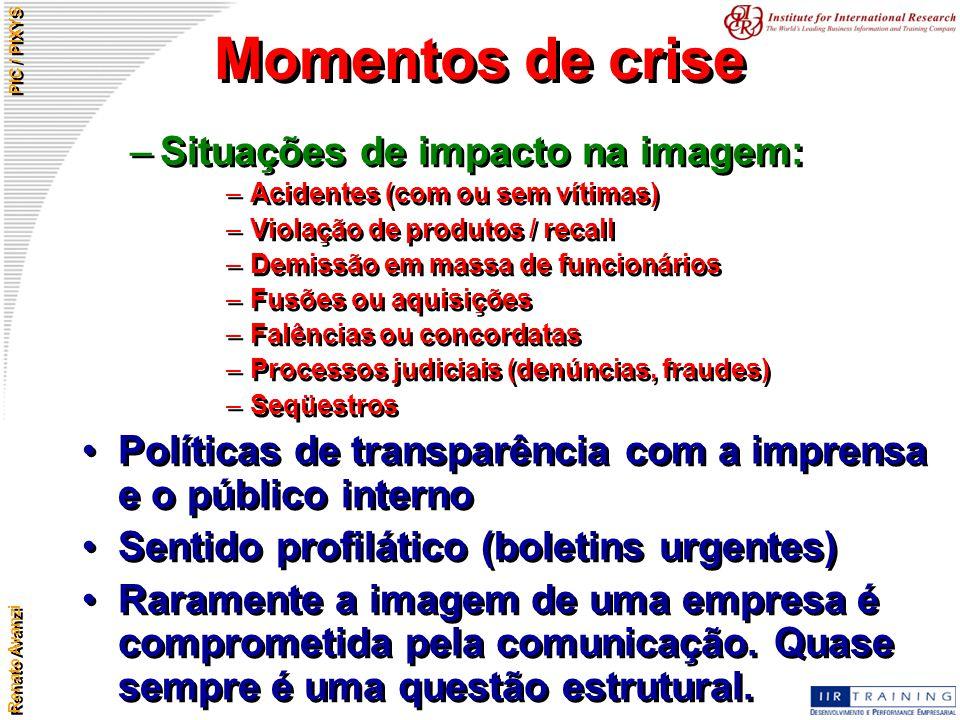 Momentos de crise Situações de impacto na imagem: