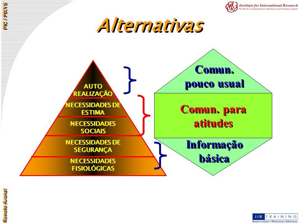 Alternativas Comun. pouco usual Comun. para atitudes Informação básica