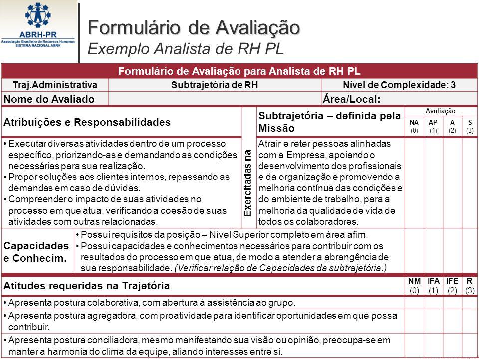 Formulário de Avaliação Exemplo Analista de RH PL