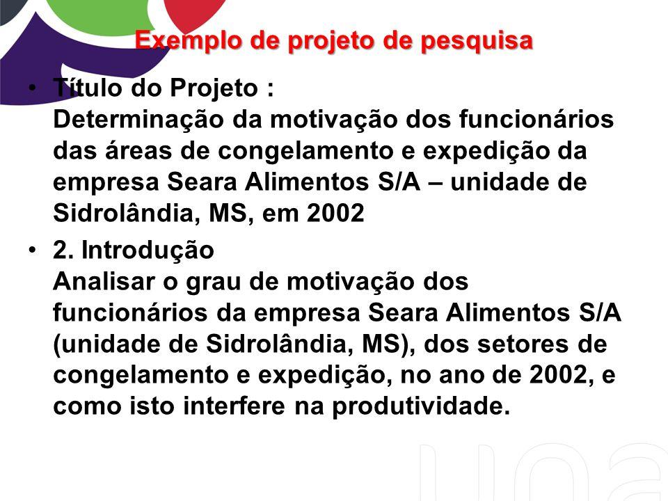 Exemplo de projeto de pesquisa