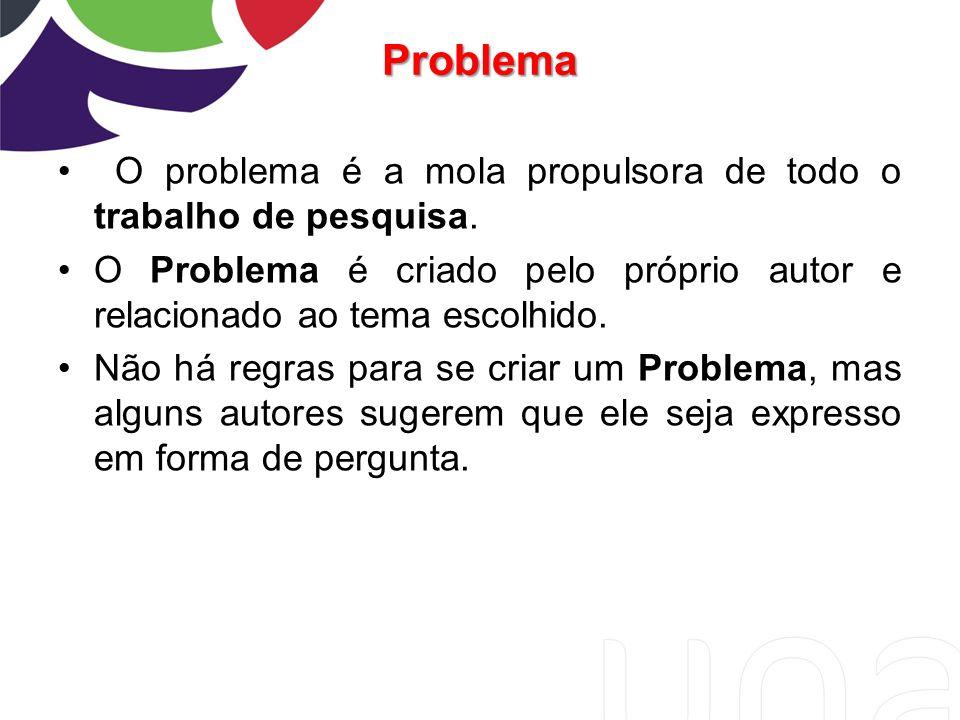 Problema O problema é a mola propulsora de todo o trabalho de pesquisa. O Problema é criado pelo próprio autor e relacionado ao tema escolhido.