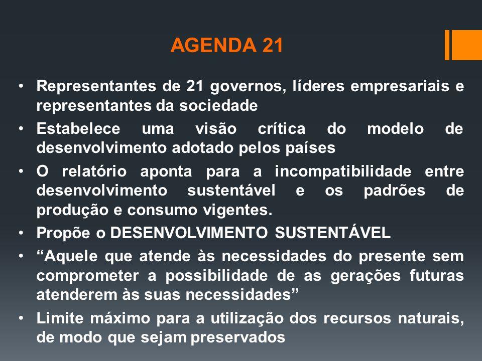 AGENDA 21 Representantes de 21 governos, líderes empresariais e representantes da sociedade.