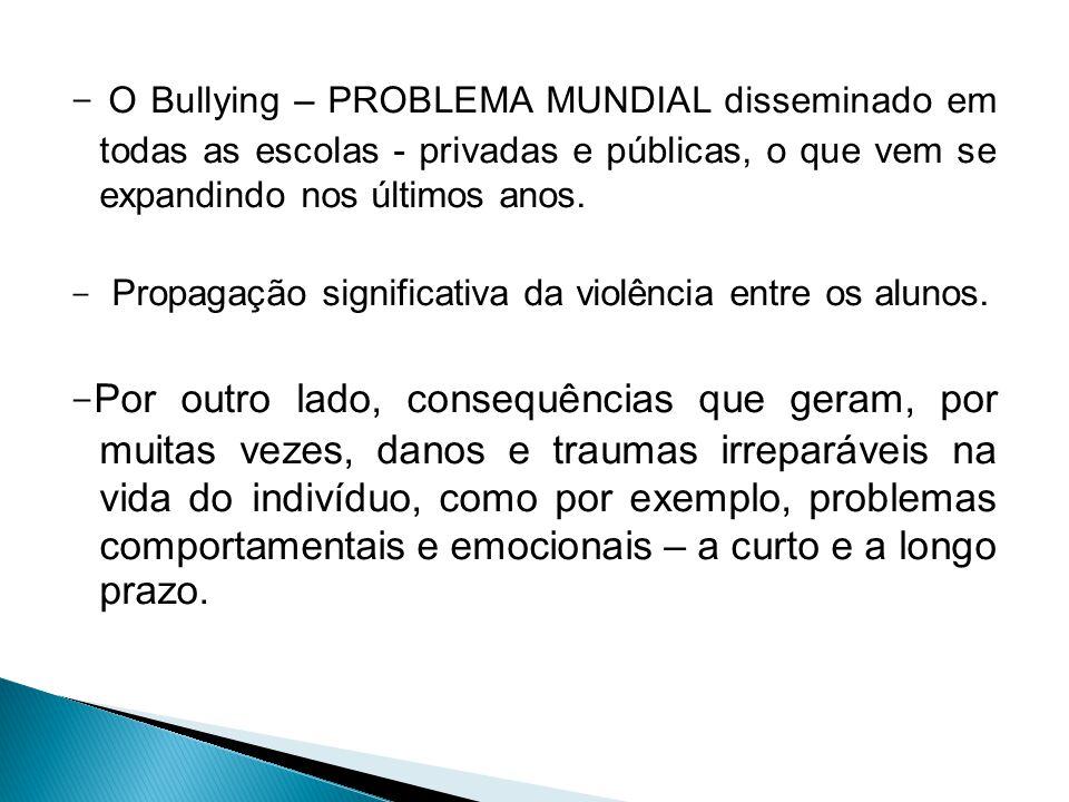- O Bullying – PROBLEMA MUNDIAL disseminado em todas as escolas - privadas e públicas, o que vem se expandindo nos últimos anos.