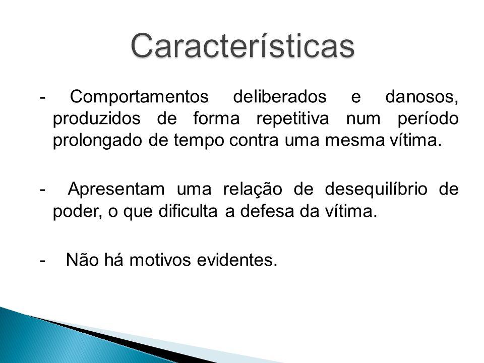 Características - Comportamentos deliberados e danosos, produzidos de forma repetitiva num período prolongado de tempo contra uma mesma vítima.
