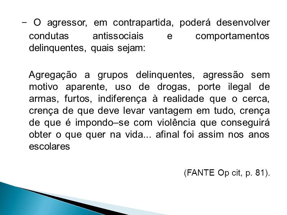 - O agressor, em contrapartida, poderá desenvolver condutas antissociais e comportamentos delinquentes, quais sejam: