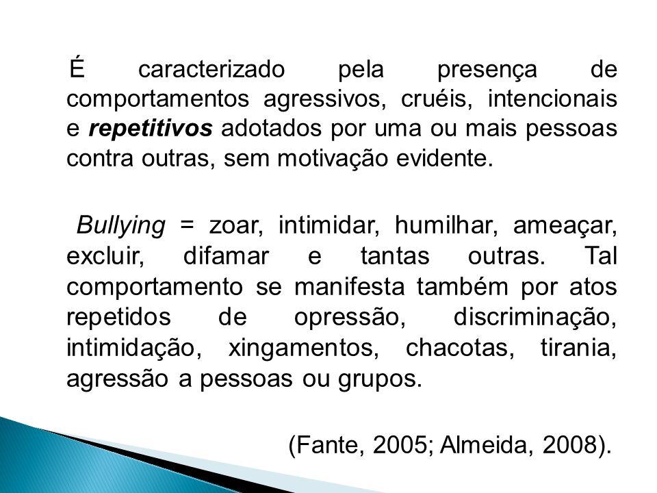 É caracterizado pela presença de comportamentos agressivos, cruéis, intencionais e repetitivos adotados por uma ou mais pessoas contra outras, sem motivação evidente.
