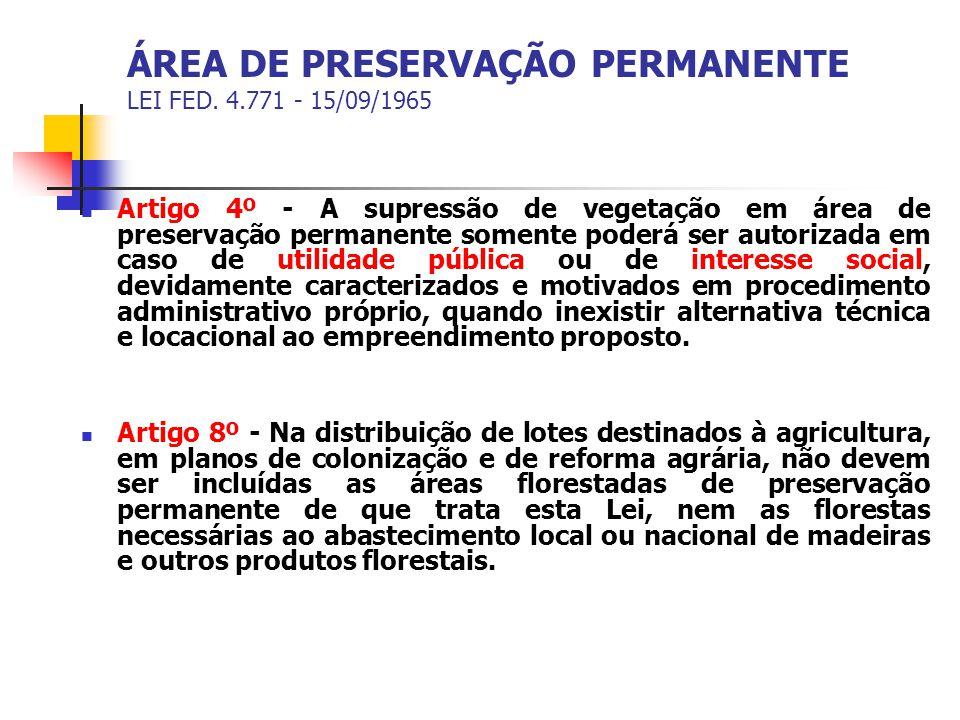 ÁREA DE PRESERVAÇÃO PERMANENTE LEI FED. 4.771 - 15/09/1965