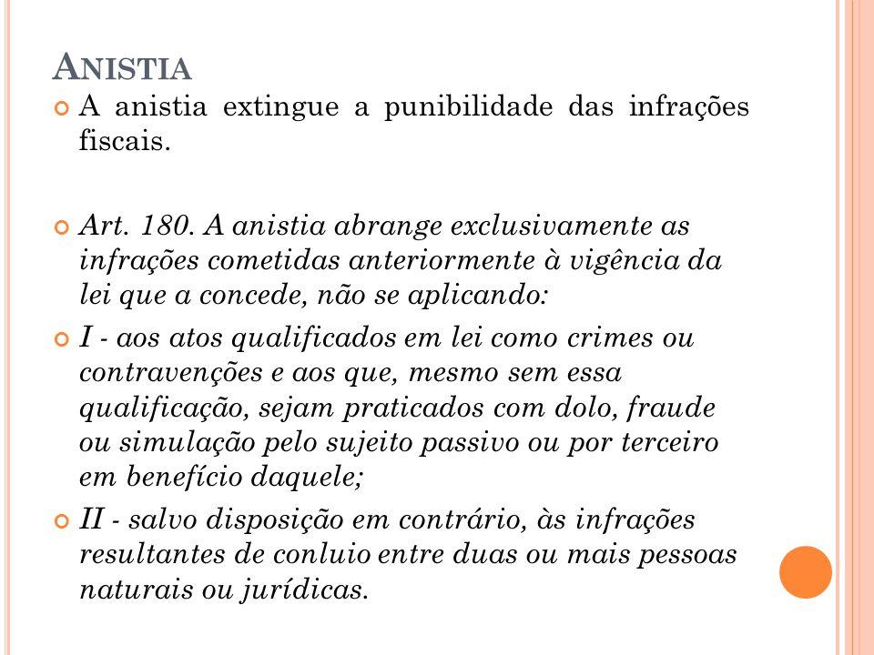 Anistia A anistia extingue a punibilidade das infrações fiscais.