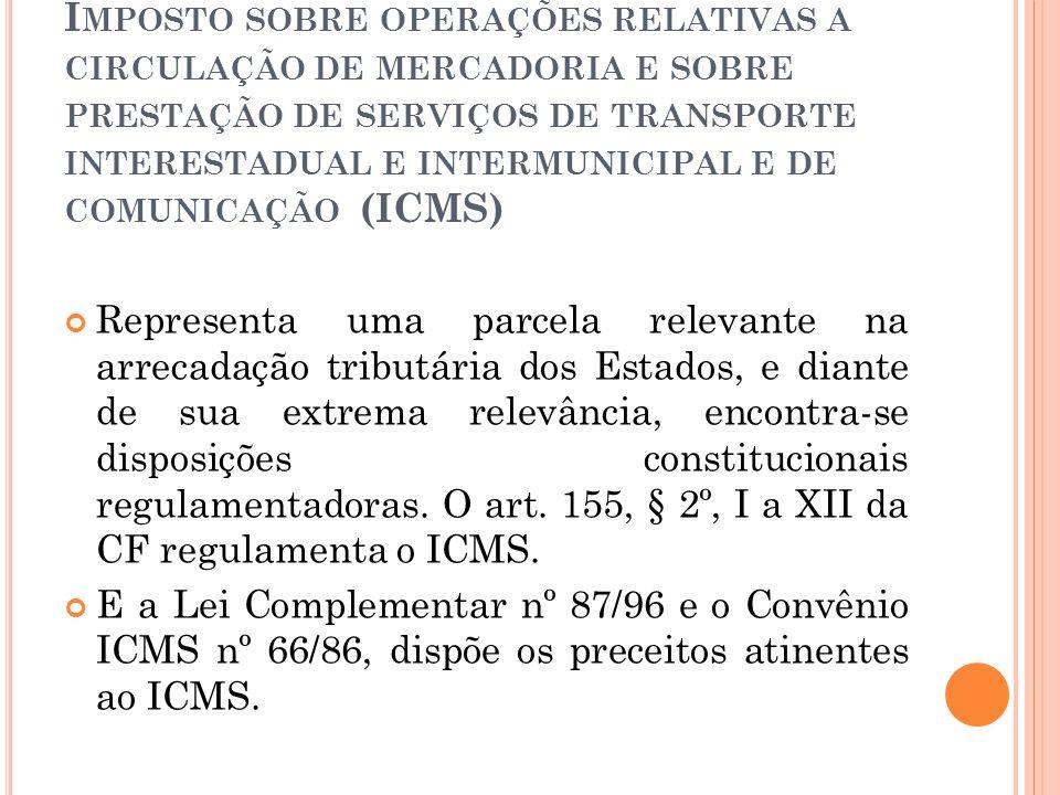Imposto sobre operações relativas a circulação de mercadoria e sobre prestação de serviços de transporte interestadual e intermunicipal e de comunicação (ICMS)