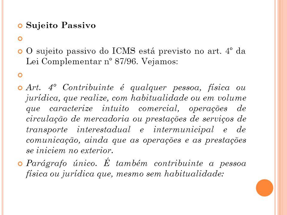 Sujeito Passivo O sujeito passivo do ICMS está previsto no art. 4º da Lei Complementar nº 87/96. Vejamos: