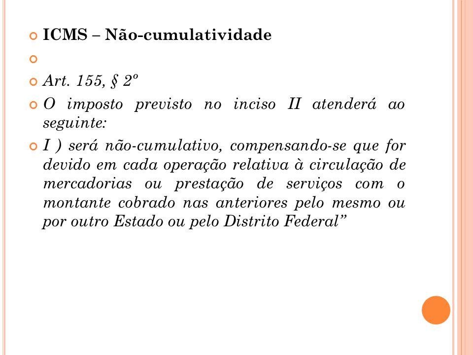 ICMS – Não-cumulatividade