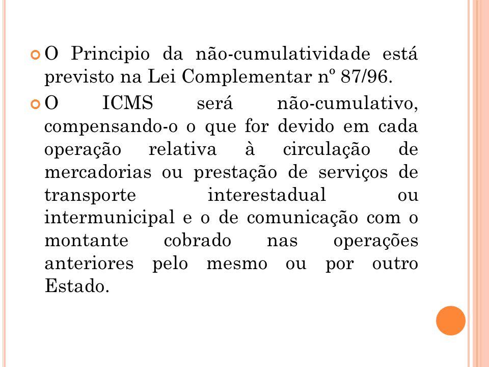 O Principio da não-cumulatividade está previsto na Lei Complementar nº 87/96.