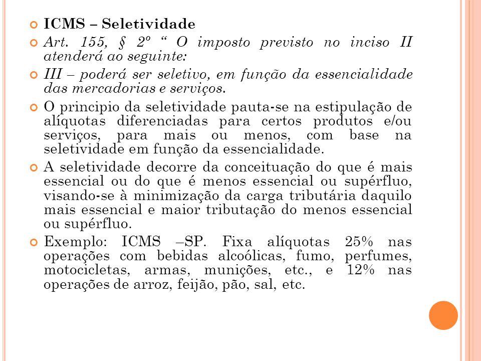 ICMS – Seletividade Art. 155, § 2º O imposto previsto no inciso II atenderá ao seguinte: